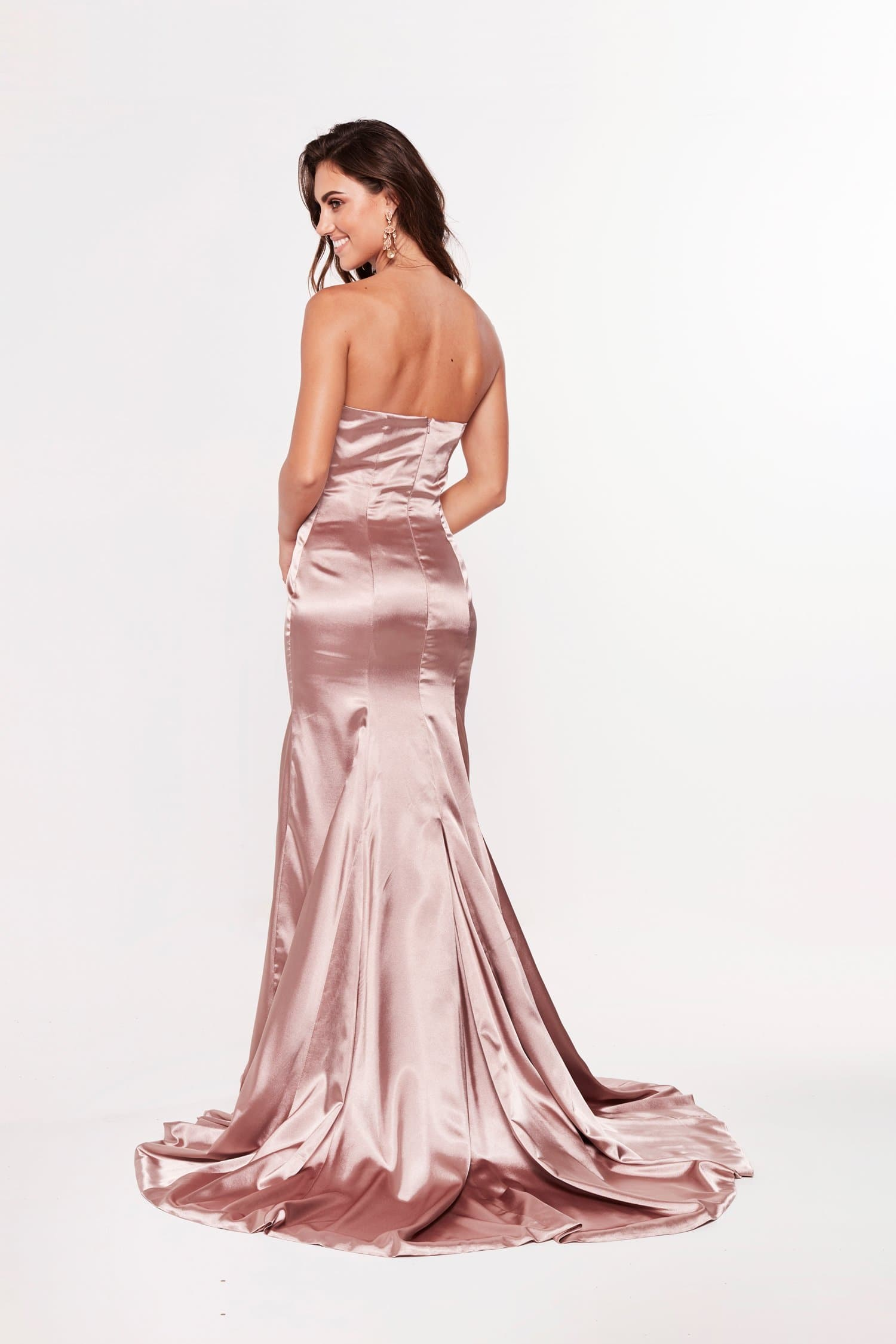 A&N Luxe Aino Strapless Satin Gown - Mauve