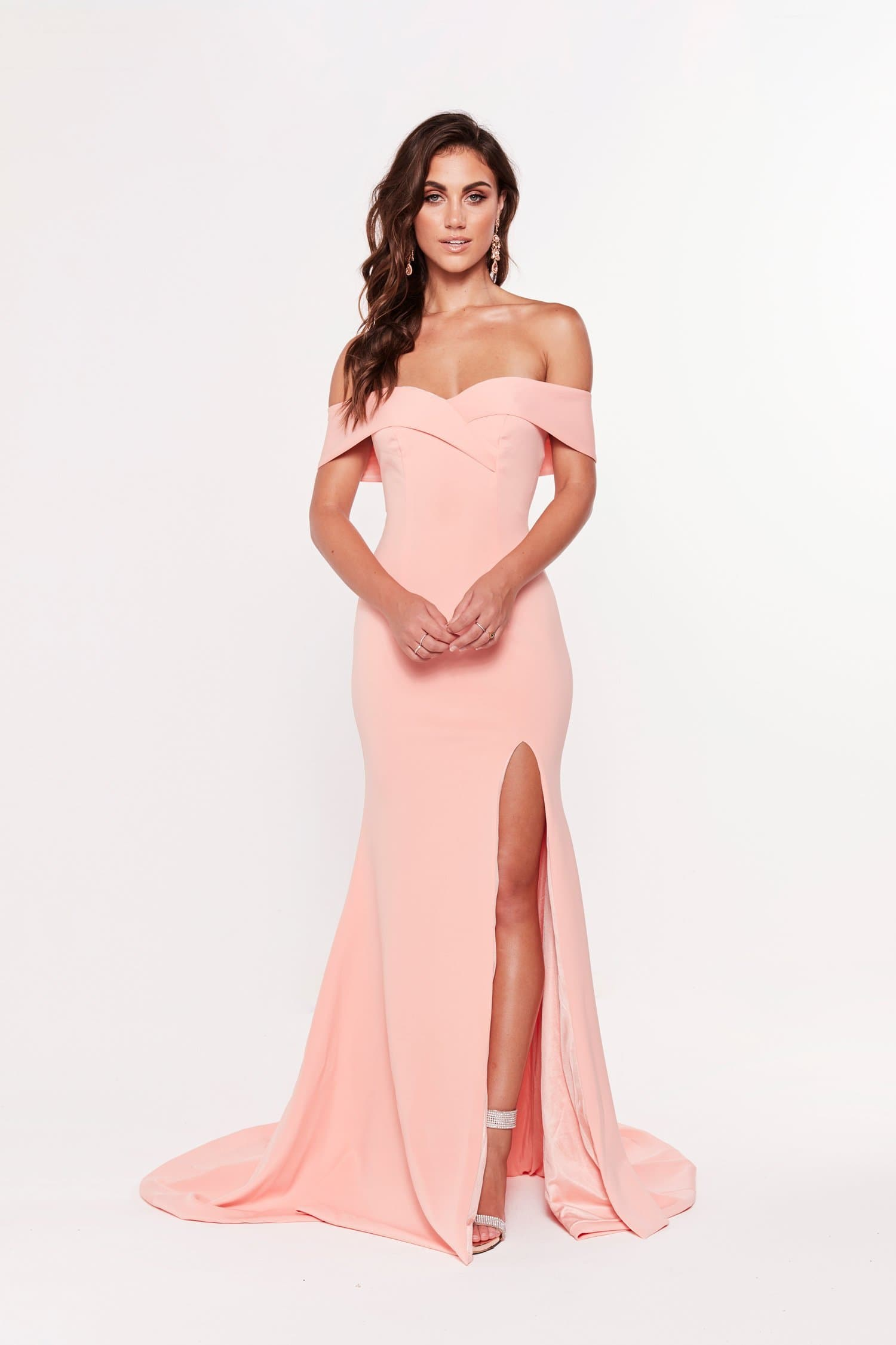 A&N Luxe Ester Off Shoulder Split Ponti Gown - Peach Bridesmaids gown prom dress