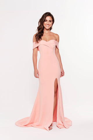 A&N Ester - Peach Ponti Gown with Off Shoulder Straps and Front Slit