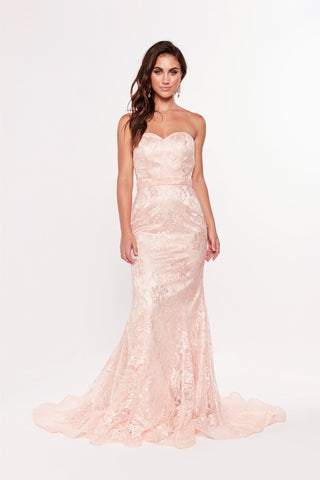 A&N Leanna - Peach Lace Gown with Mermaid Train