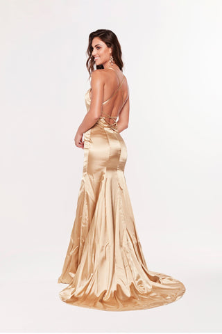 A&N Bahar - Gold Satin Gown with Lace Up Back and Mermaid Train
