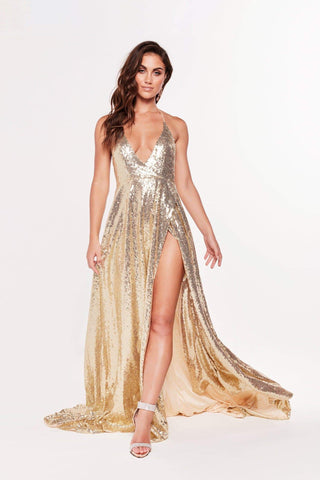 A&N Camilla - Champagne Sequin Gown with Plunge Neck and Side Slit