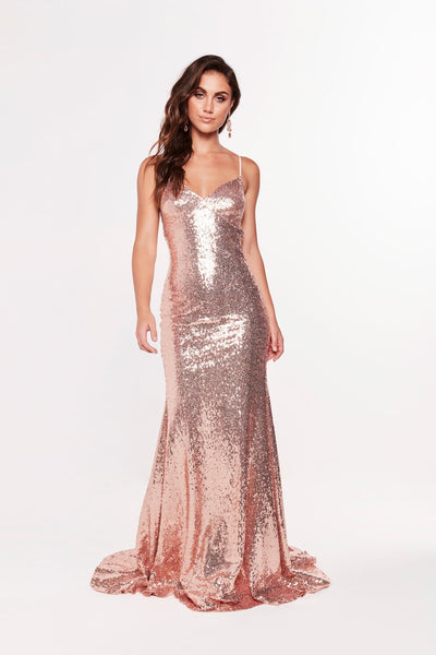 A&N Luxe Melina Sequins Gown - Rose Gold