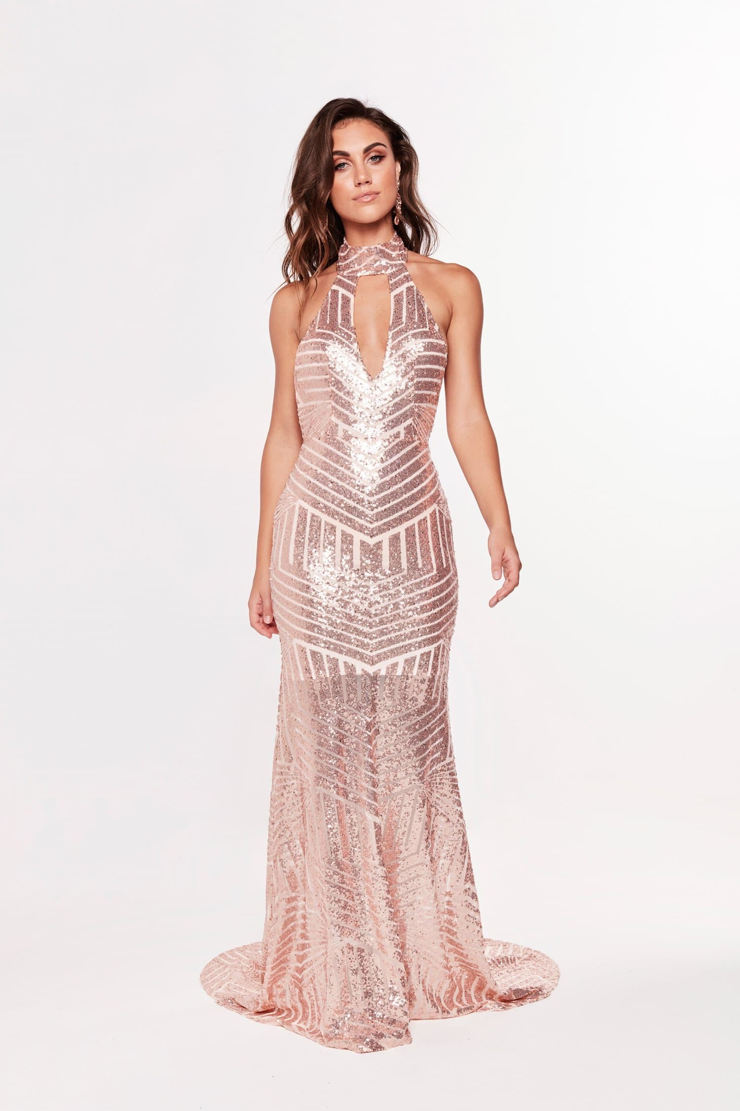 A&N Zabrina - Rose Gold Sequin Gown with Halter Neck and Open Back
