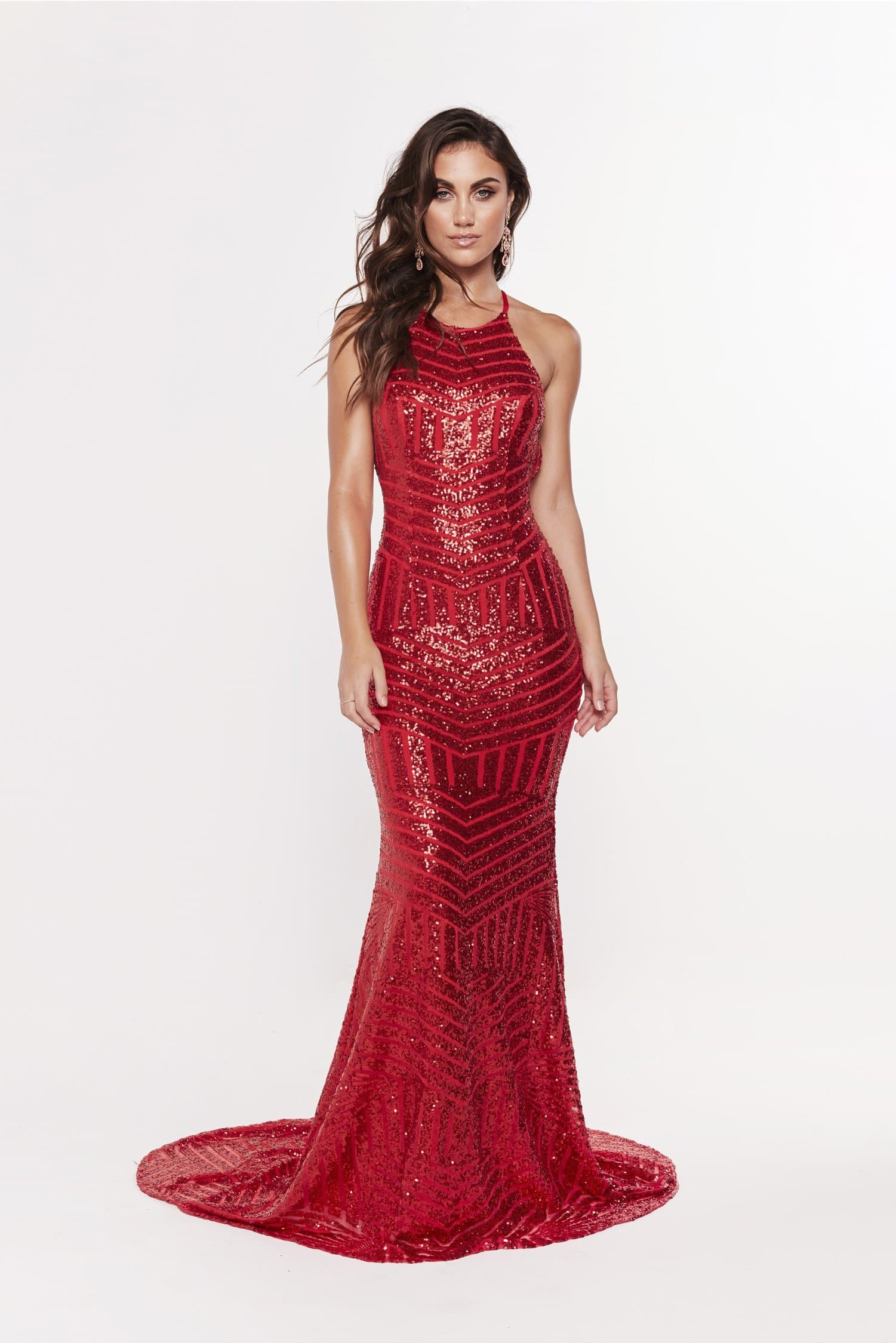 A&N Aniya Lace Up Sequin Gown - Red