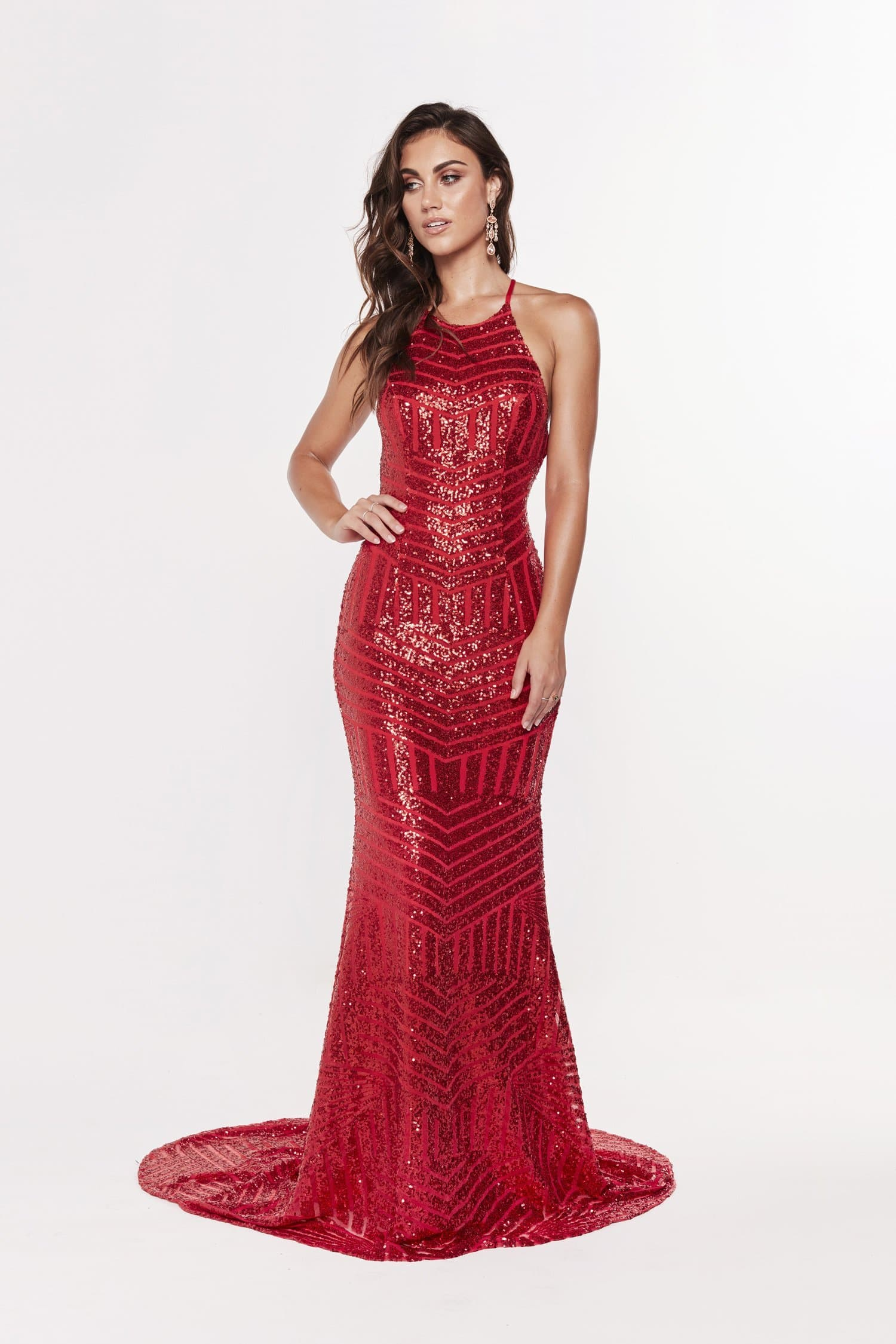 A&N Aniya Lace Up Sequin Gown - Red Prom Dress