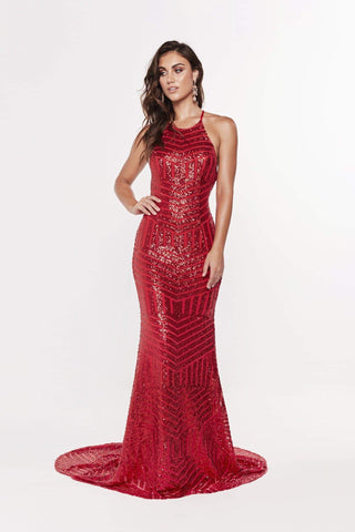 A&N Aniya- Lace Up Red Sequin Gown with a Mermaid Train