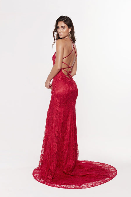 A&N Curve Gracie Lace Gown - Red