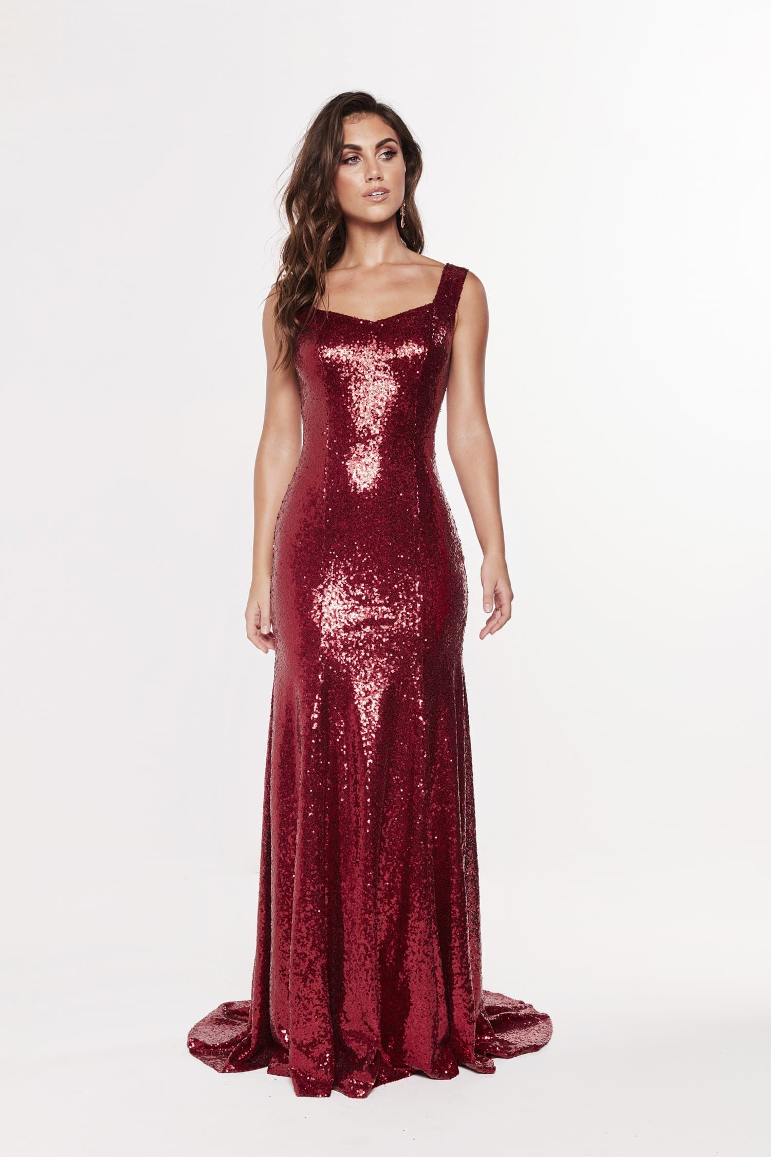 A&N Luxe Georgie Sequins Gown - Deep Red