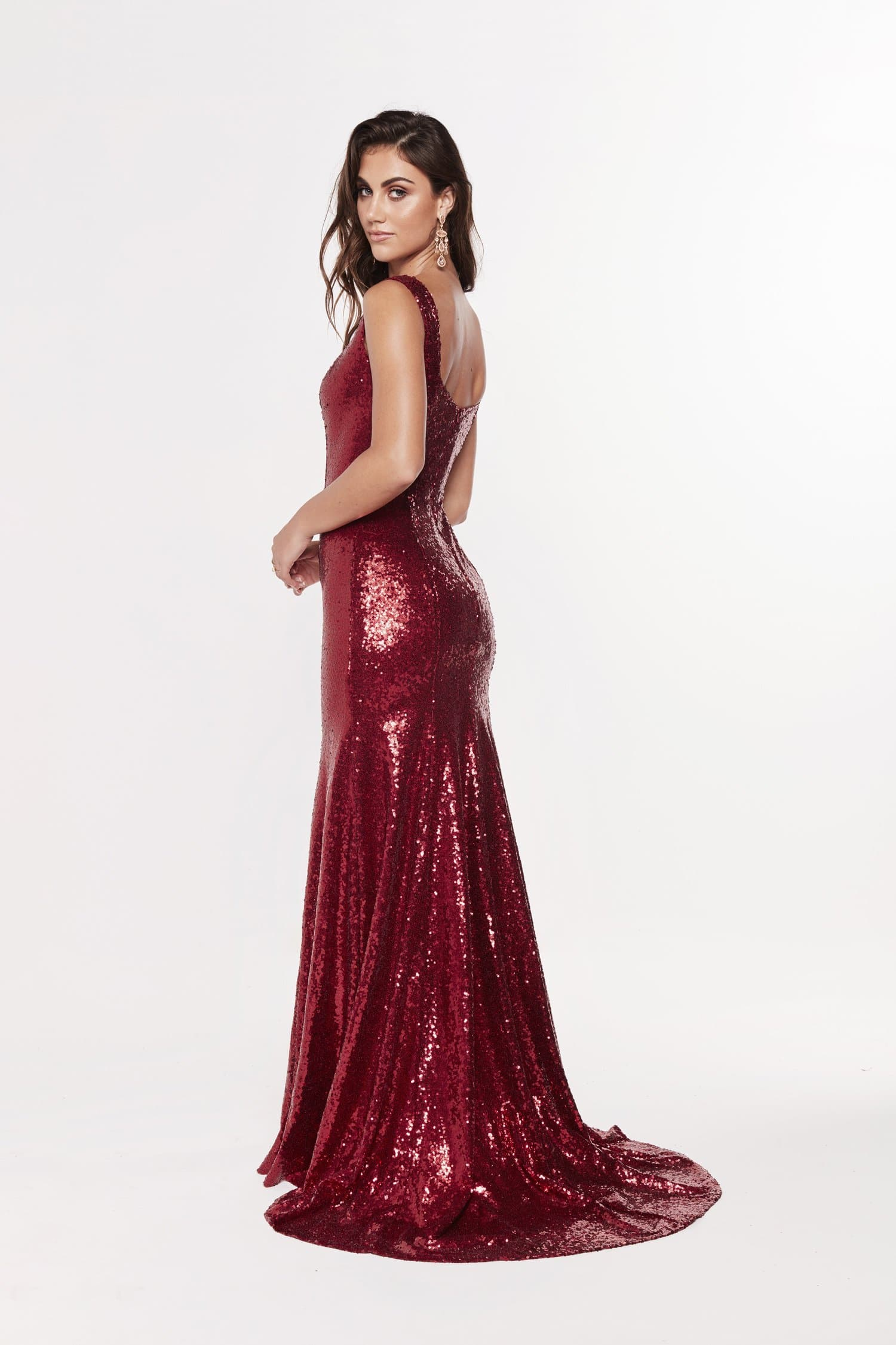 A&N Georgie - Deep Red Sequin Gown with Low Back
