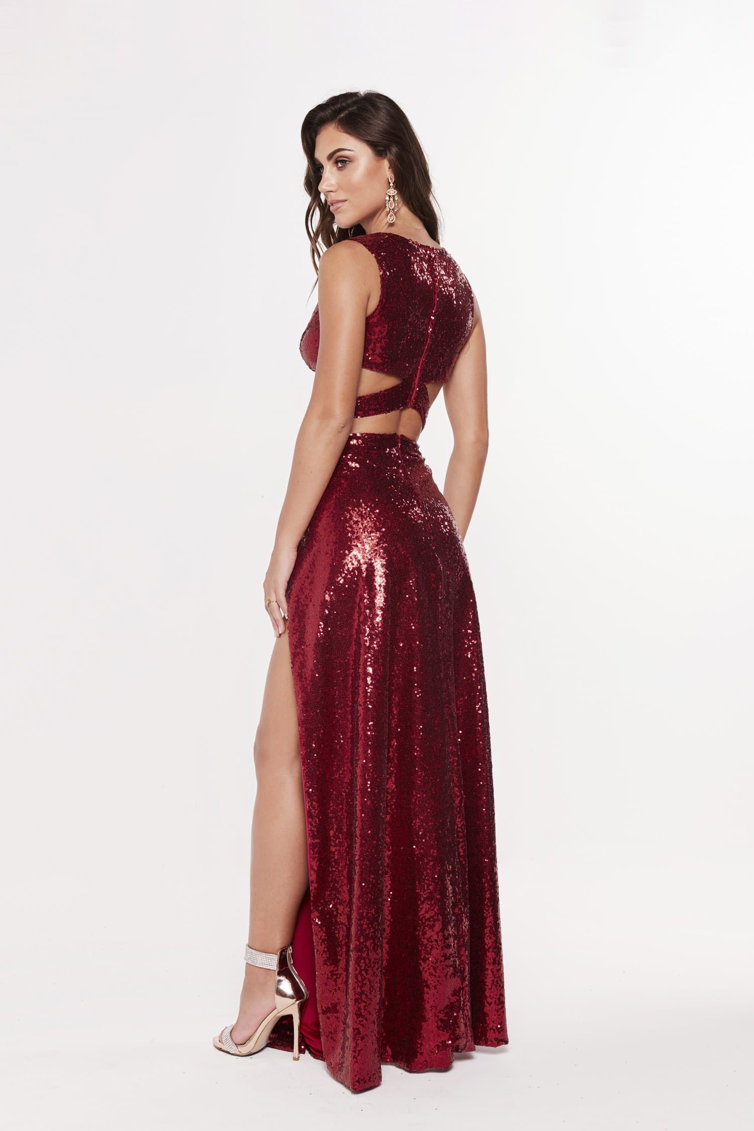 A&N Roxy - Deep Red Sequin Two Piece Gown with Side Cut Outs and Slit