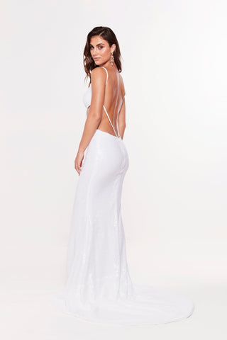 A&N Eneya - White Sequin Dress with Side Cut Outs and Front Slit