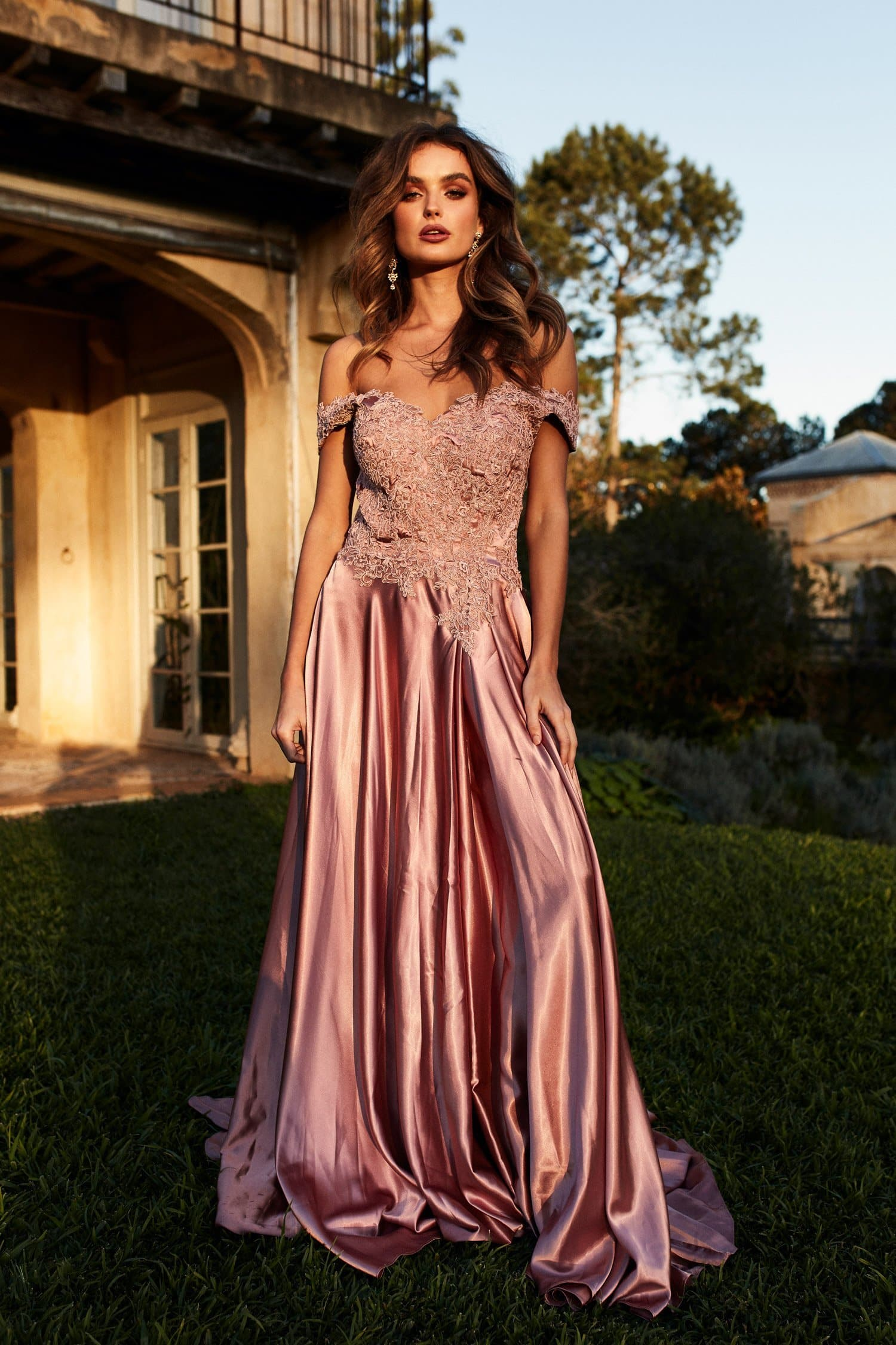 A&N Freya - Rose Gold Off Shoulder Gown Made From Lace & Satin