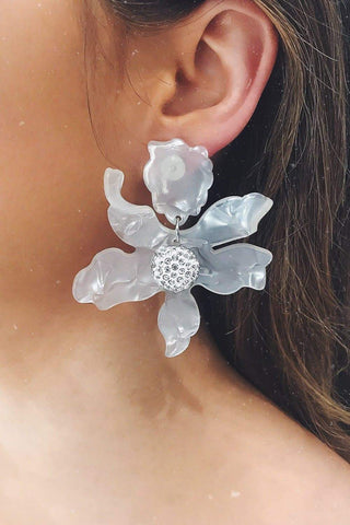 Glazori Luna Clear (White) Flower Statement Earrings