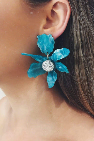 Glazori Luna Teal Flower Statement Earrings