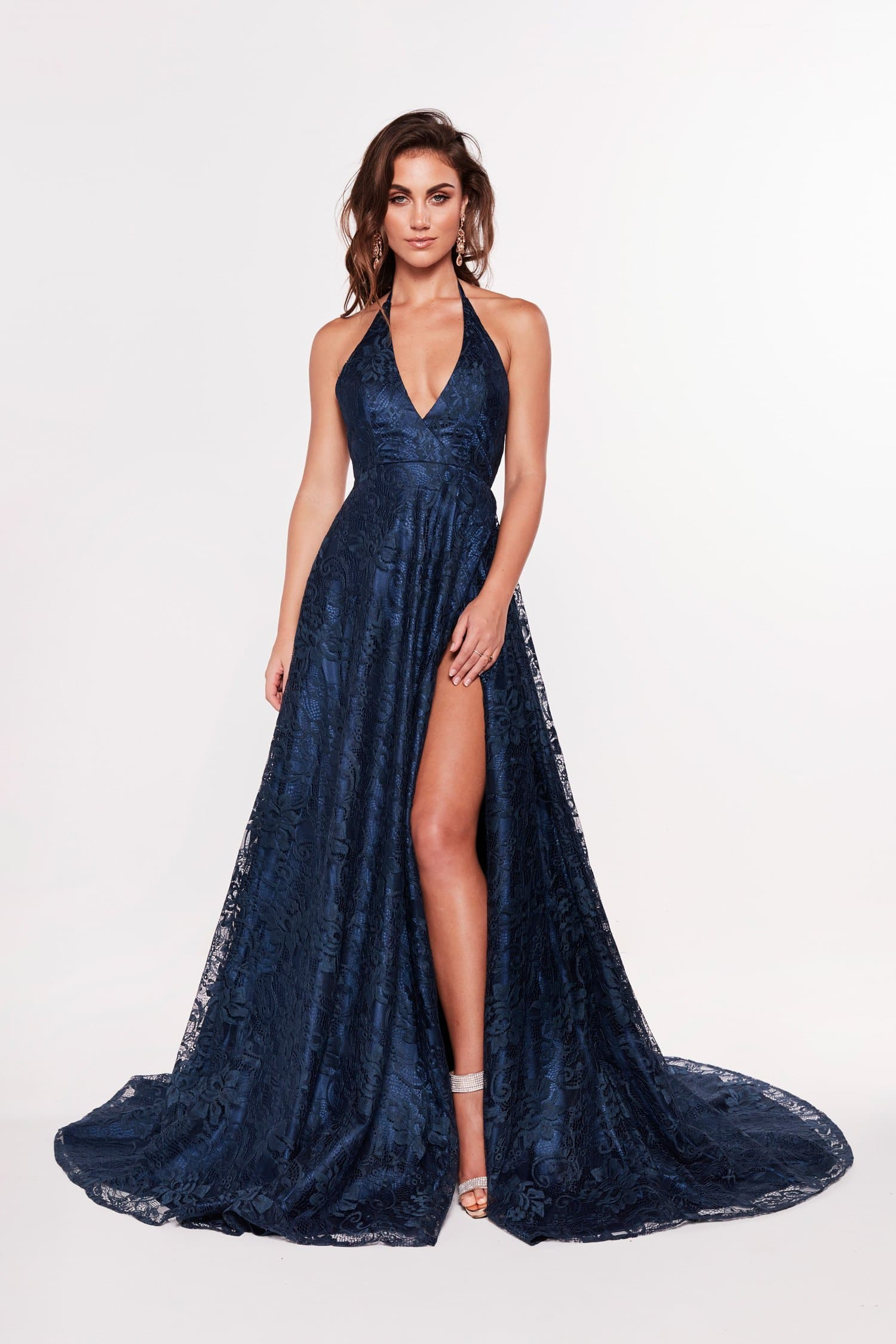 A&N Frida - Navy Lace Gown with Plunging Neckline and Low Back