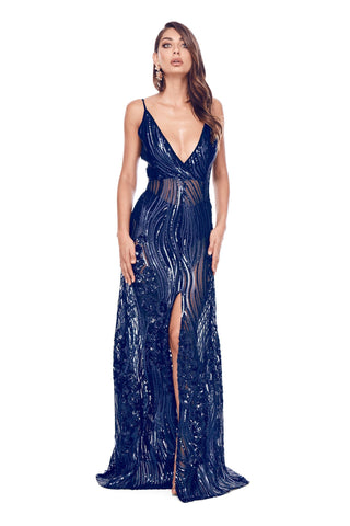 Lacrecia - Navy Sheer Sequin Gown with V Neckline, Low Back & Slit