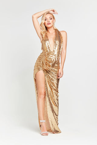 A&N Lala - Gold Sequin Gown with Ruched Cowl Neck and Side Slit