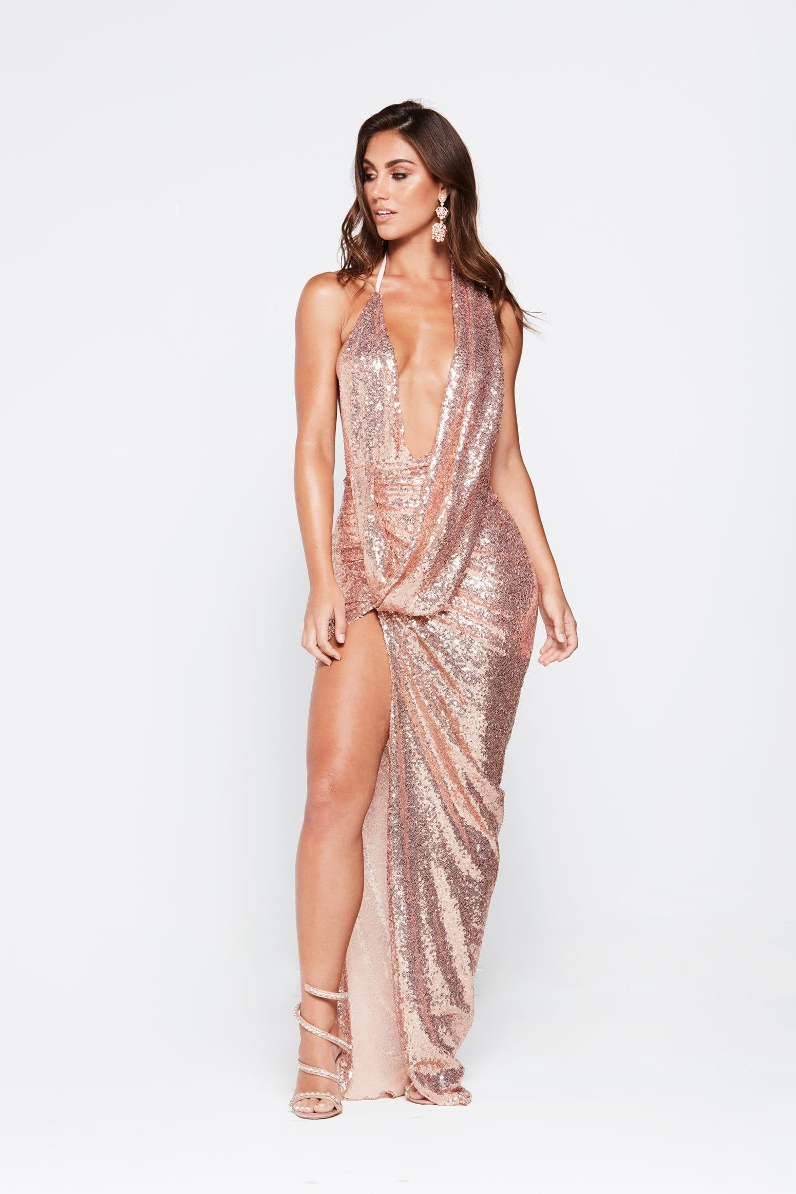 Lala Gown - Rose Gold Sequins Ruched Cowl Neck Asymmetrical Skirt