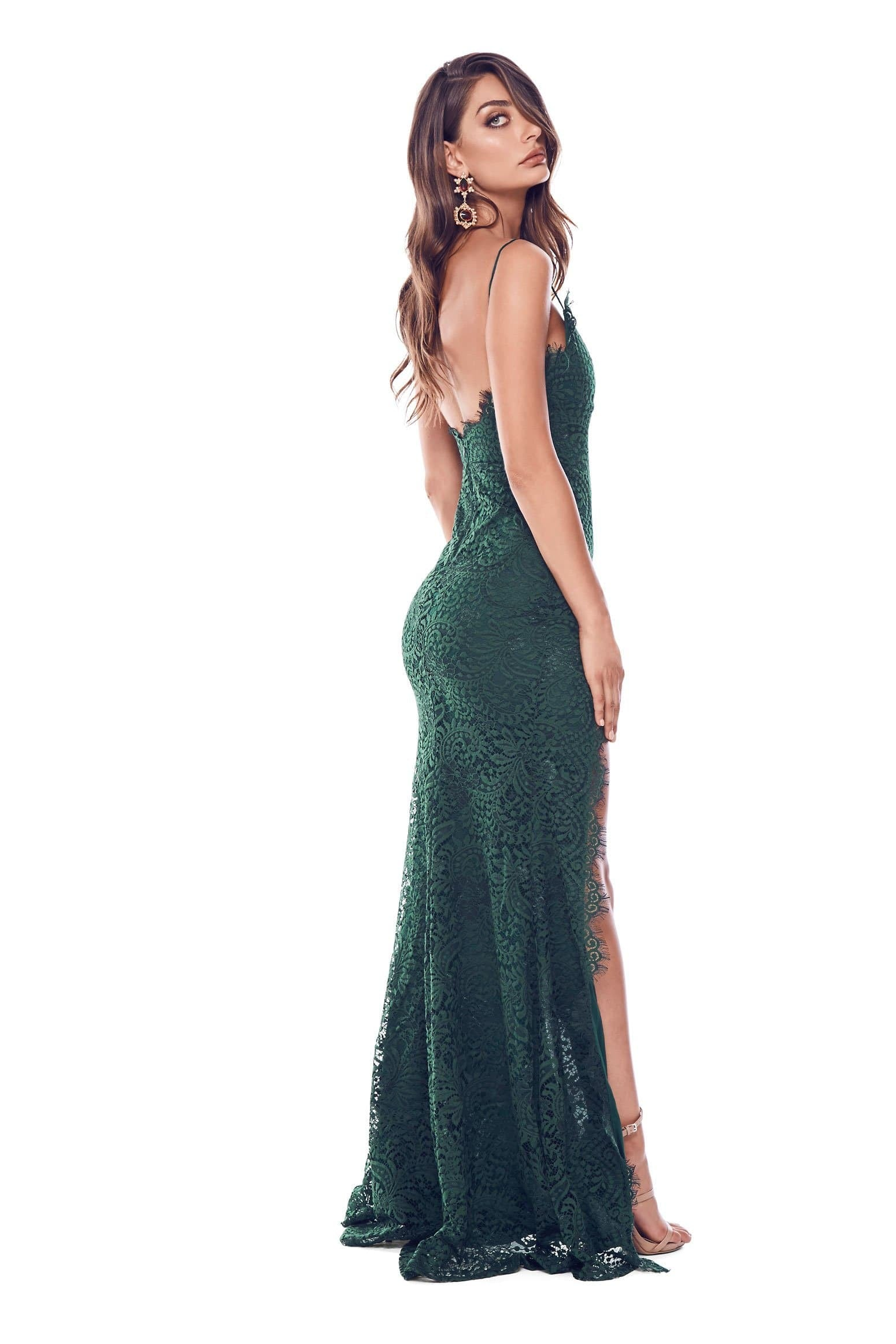 Layali - Sleeveless Emerald Lace Gown with Side Slit & Open Back