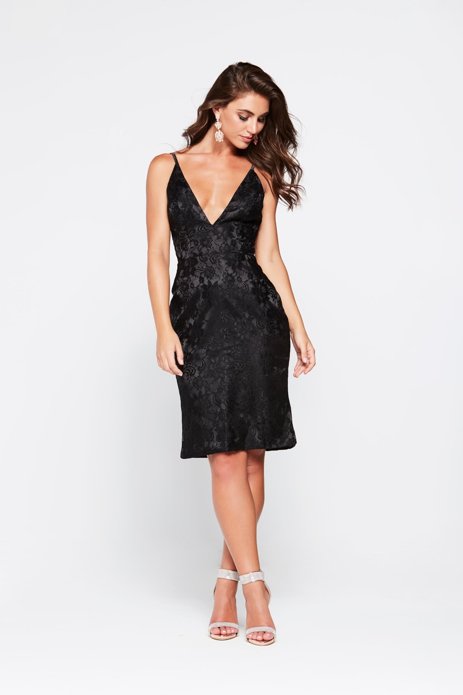 A&N Lea- Black Lace Cocktail Dress with V Neck and Low Back