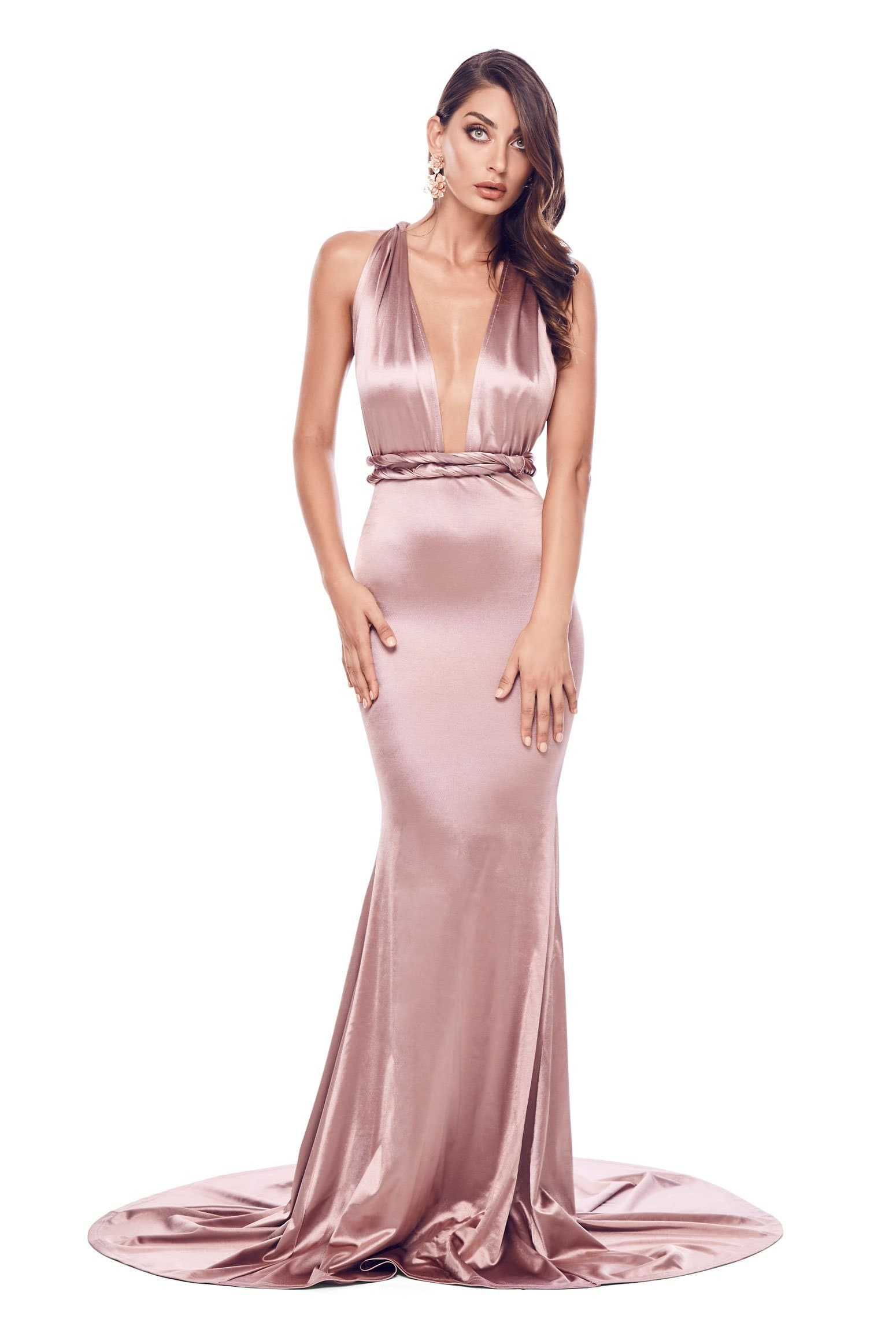 Lena - Rose Gold Satin Multiway Gown with Mermaid Train & Plunge Neck