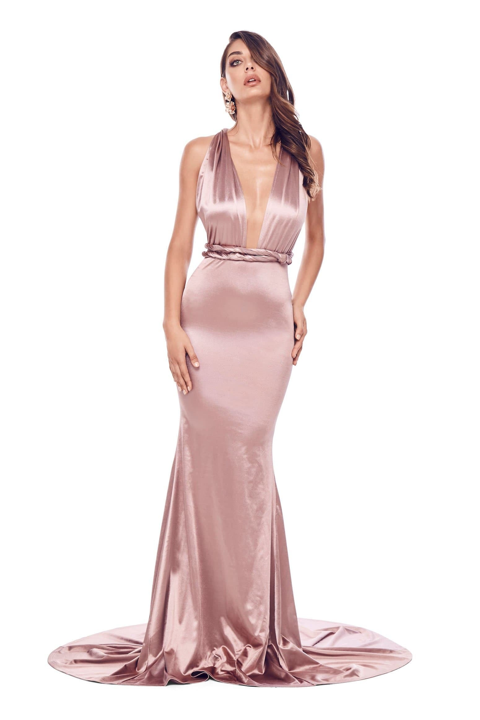 2da77bf748f Lena - Rose Gold Satin Multiway Gown with Mermaid Train   Plunge ...