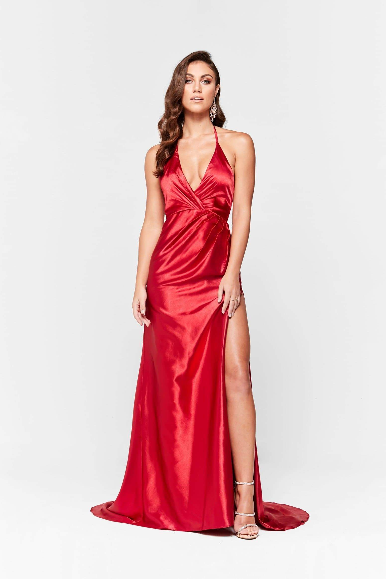 A&N Leonie - Deep Red Satin Gown with Halter V Neck and Side Slit