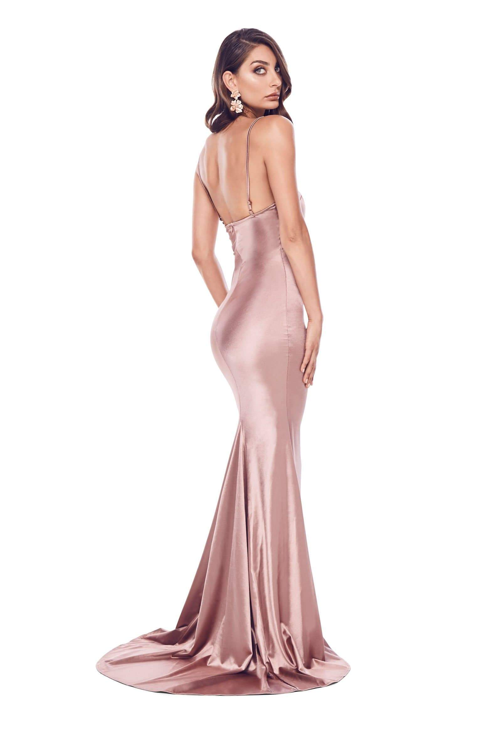 Lesiya Satin Gown - Rose Gold
