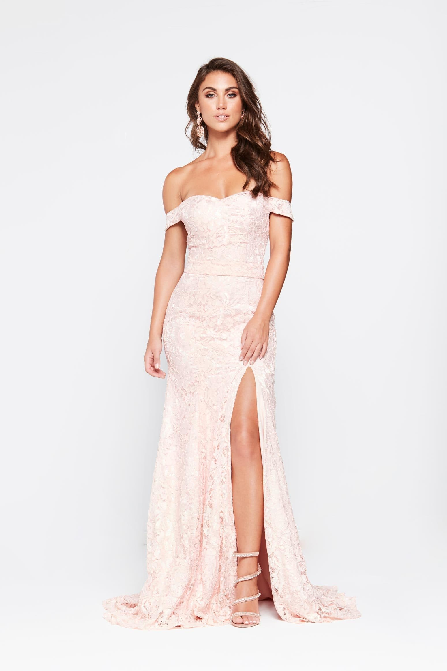 A&N Leyla - Blush Off-Shoulder Lace Gown with Front Slit