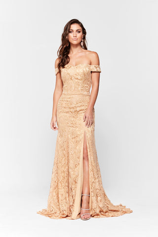 A&N Leyla - Gold Off-Shoulder Lace Gown with Side Slit