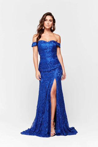 A&N Leyla - Royal Blue Off-Shoulder Lace Gown with Side Slit