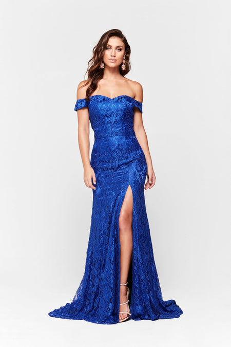 A&N Bridesmaids Daisy Shimmering Lace Gown - Royal Blue