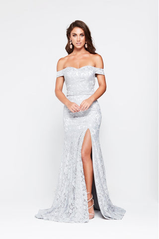 A&N Leyla - Silver Off-Shoulder Lace Gown with Side Slit