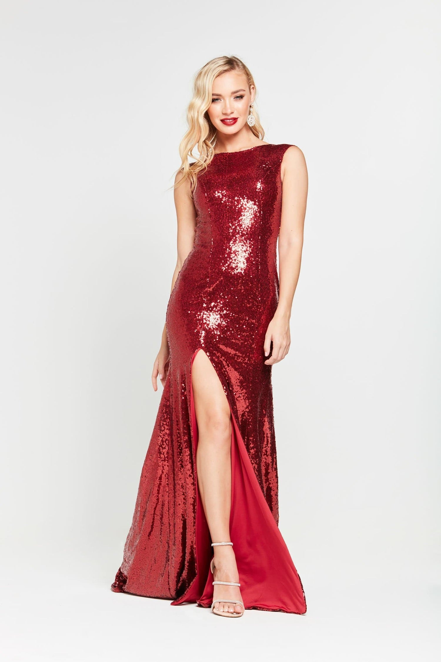 A&N Lila -  Deep Red Sequin Gown with High Neck and Side Slit