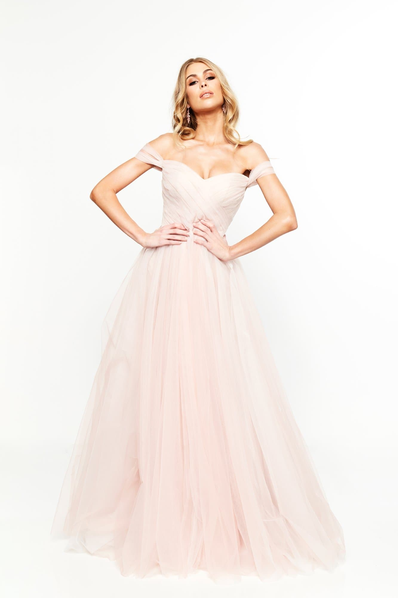 A&N Bridesmaids - Blush Lorna Off-Shoulder Tulle Gown
