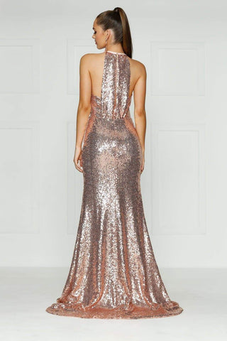 In stock - Luna Sequin Gown - Rose Gold