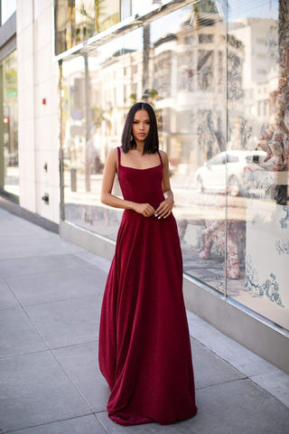 A&N Luxe Makena Gown - Burgundy  Shimmering Stretchy Fabric With Back Detailing