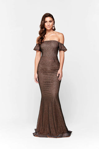 In stock - Megara Glitter Off Shoulder Gown - Black