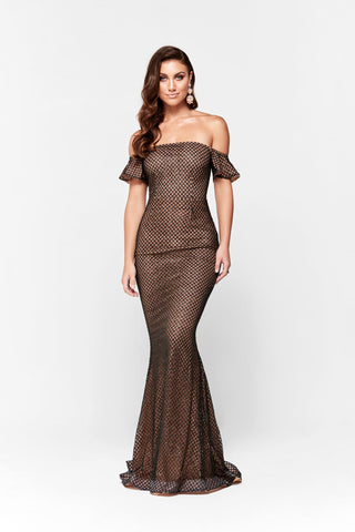 Megara Glitter Off Shoulder Gown - Black