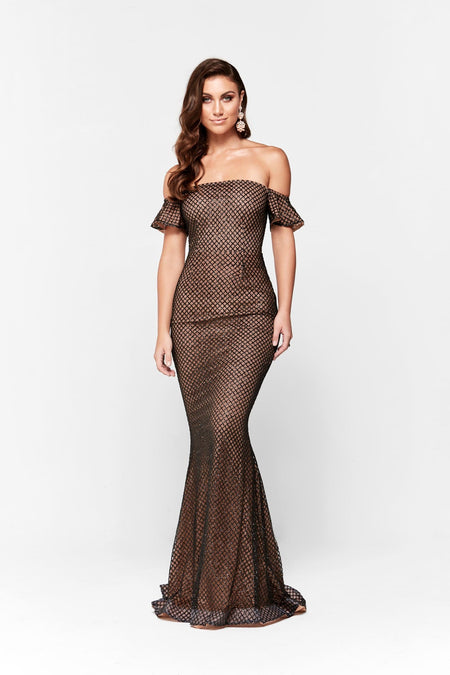 Yassmine Luxe Sequin Gown - Rose Gold
