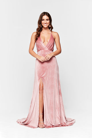 A&N Merida - Dusty Pink Velvet Halter V Neck Gown with Side Slit