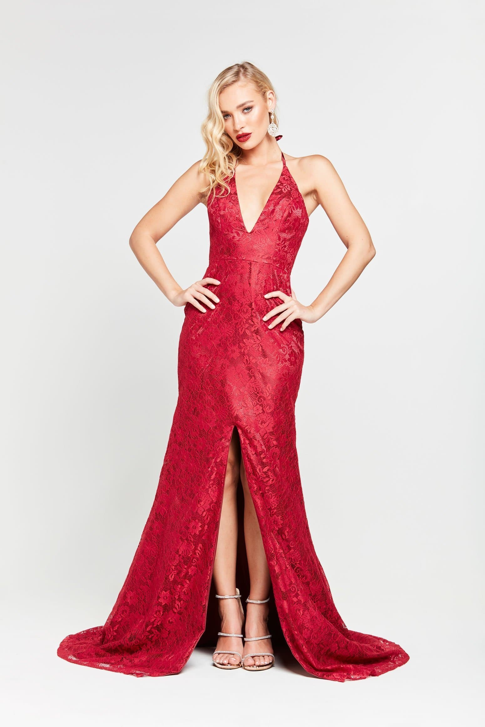 Mila Formal Dress - Deep Red Lace V-Neck Split Mermaid Train Dress
