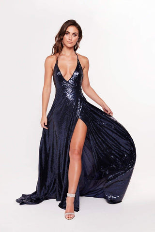 In Stock - Camilla Sequin Gown - Navy