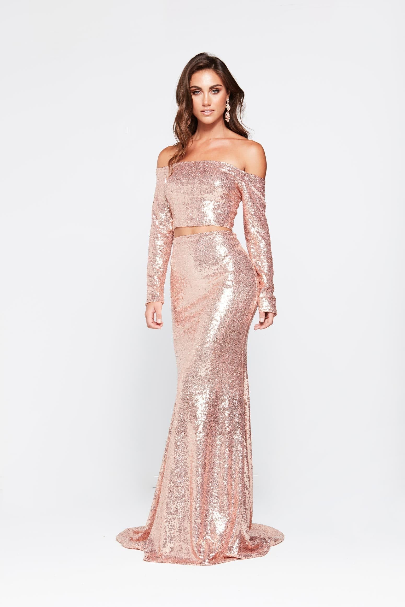 A&N Nadia - Rose Gold Sequin Two Piece Gown with Off Shoulder Sleeves