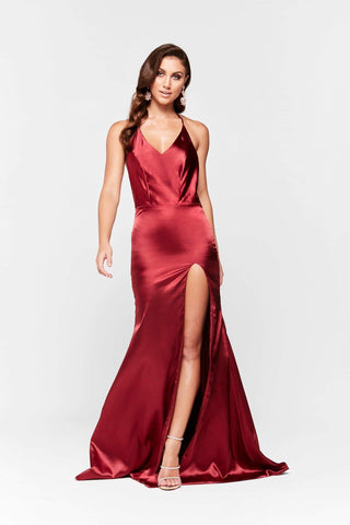 In stock - Nala Satin Gown - Deep Red