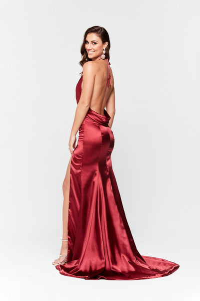 A&N Luxe Nala Satin V Neck Gown - Deep Red