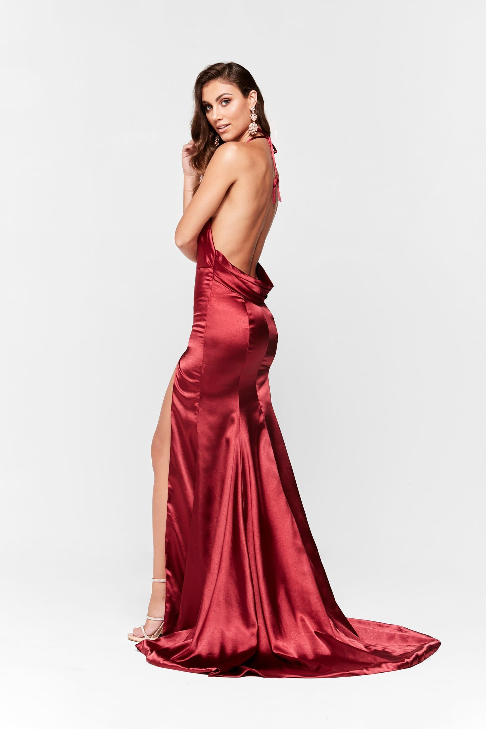 A&N Luxe Nala Satin Gown - Deep Red