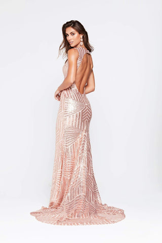 A&N Nicole - Rose Gold Sequin Gown with High Neckline and Open Back