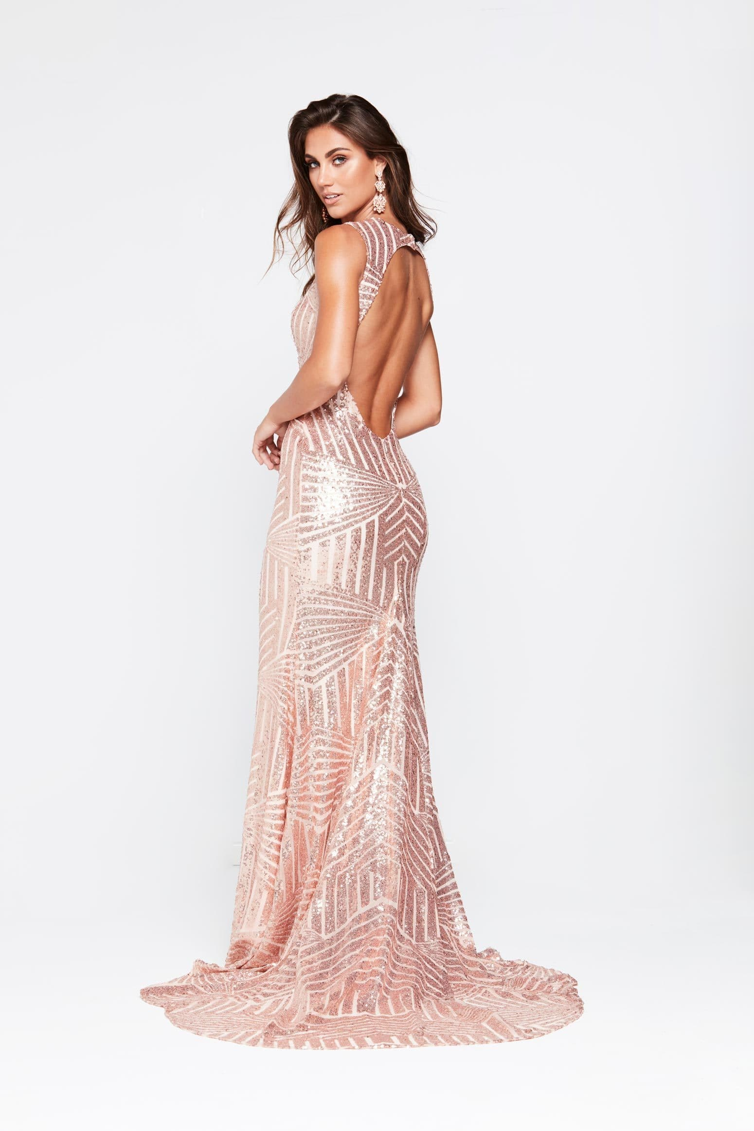 A&N Nicole - Rose Gold Sequin Gown with High Neckline and Open Back ...